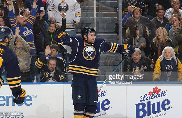 Cody Franson of the Buffalo Sabres celebrates his second period goal against the Tampa Bay Lightning during an NHL game at the KeyBank Center on...