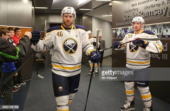 Cody Franson of the Buffalo Sabres heads to the ice before playing the Washington Capitals in an NHL game on January 16 2016 at the First Niagara...