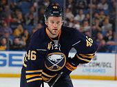 Cody Franson of the Buffalo Sabres prepares for a faceoff against the Columbus Blue Jackets on October 12 2015 at the First Niagara Center in Buffalo...