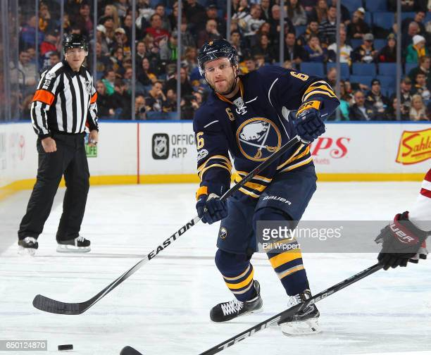 Cody Franson of the Buffalo Sabres shoots the puck against the Arizona Coyotes during an NHL game at the KeyBank Center on March 2 2017 in Buffalo...