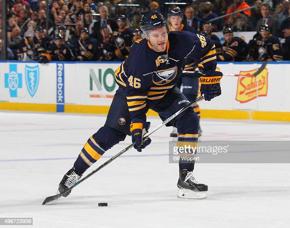 Cody Franson of the Buffalo Sabres shoots the puck against the Tampa Bay Lightning during an NHL game on November 5 2015 at the First Niagara Center...