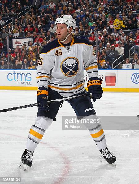 Cody Franson of the Buffalo Sabres skates against the Detroit Red Wings during an NHL game on January 22 2016 at the First Niagara Center in Buffalo...