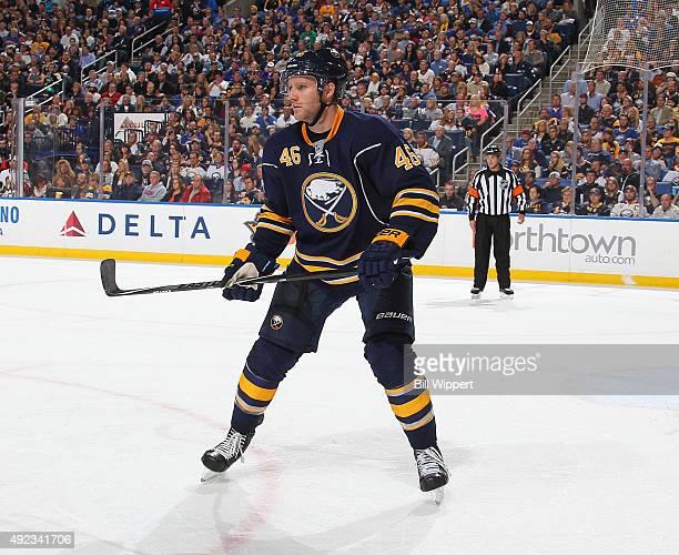 Cody Franson of the Buffalo Sabres skates against the Ottawa Senators on October 8 2015 at the First Niagara Center in Buffalo New York