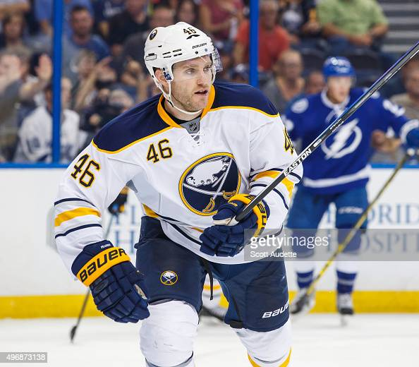 Cody Franson of the Buffalo Sabres skates against the Tampa Bay Lightning at the Amalie Arena on November 10 2015 in Tampa Florida