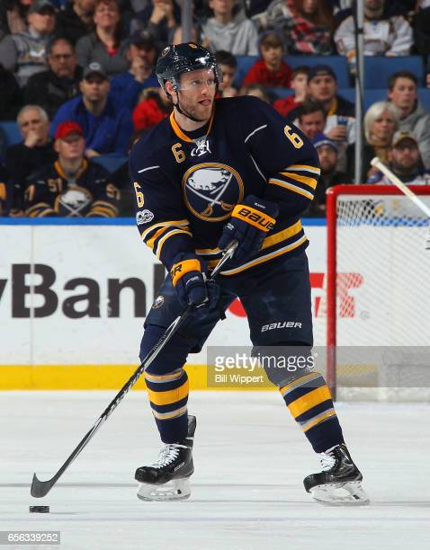 Cody Franson of the Buffalo Sabres skates during an NHL game against the Columbus Blue Jackets at the KeyBank Center on March 11 2017 in Buffalo New...