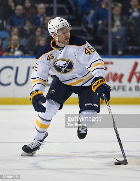 Cody Franson of the Buffalo Sabres skates with the puck during the game against the Detroit Red Wings on January 22 2016 at the First Niagara Center...