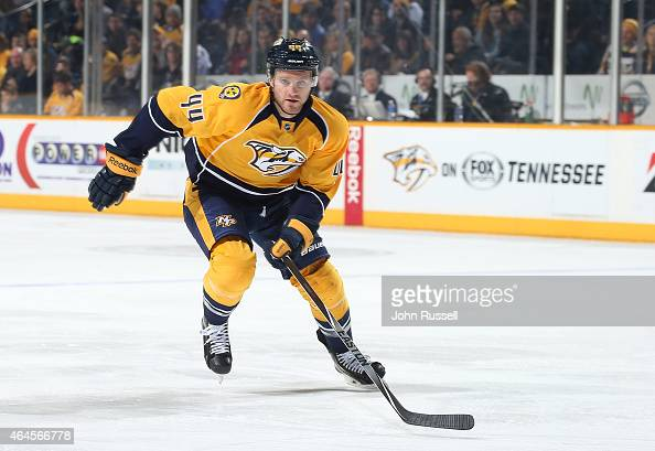 Cody Franson of the Nashville Predators skates against the Colorado Avalanche during an NHL game at Bridgestone Arena on February 24 2015 in...