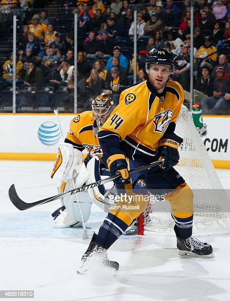 Cody Franson of the Nashville Predators skates against the New York Islanders during an NHL game at Bridgestone Arena on March 5 2015 in Nashville...