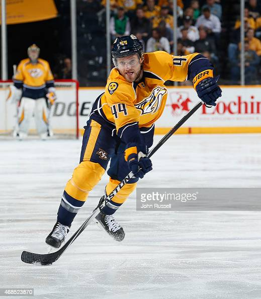 Cody Franson of the Nashville Predators skates against the Vancouver Canucks during an NHL game at Bridgestone Arena on March 31 2015 in Nashville...