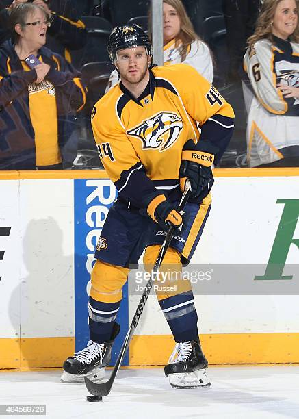 Cody Franson of the Nashville Predators skates in warmups prior to the game against the Colorado Avalanche during an NHL game at Bridgestone Arena on...
