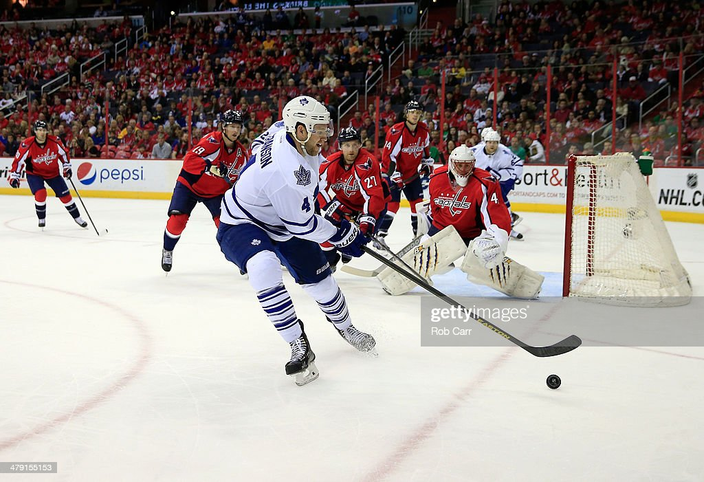 <a gi-track='captionPersonalityLinkClicked' href=/galleries/search?phrase=Cody+Franson&family=editorial&specificpeople=2125769 ng-click='$event.stopPropagation()'>Cody Franson</a> #4 of the Toronto Maple Leafs controls the puck against the Washington Capitals during the second period of the Capitals 4-2 win at Verizon Center on March 16, 2014 in Washington, DC.