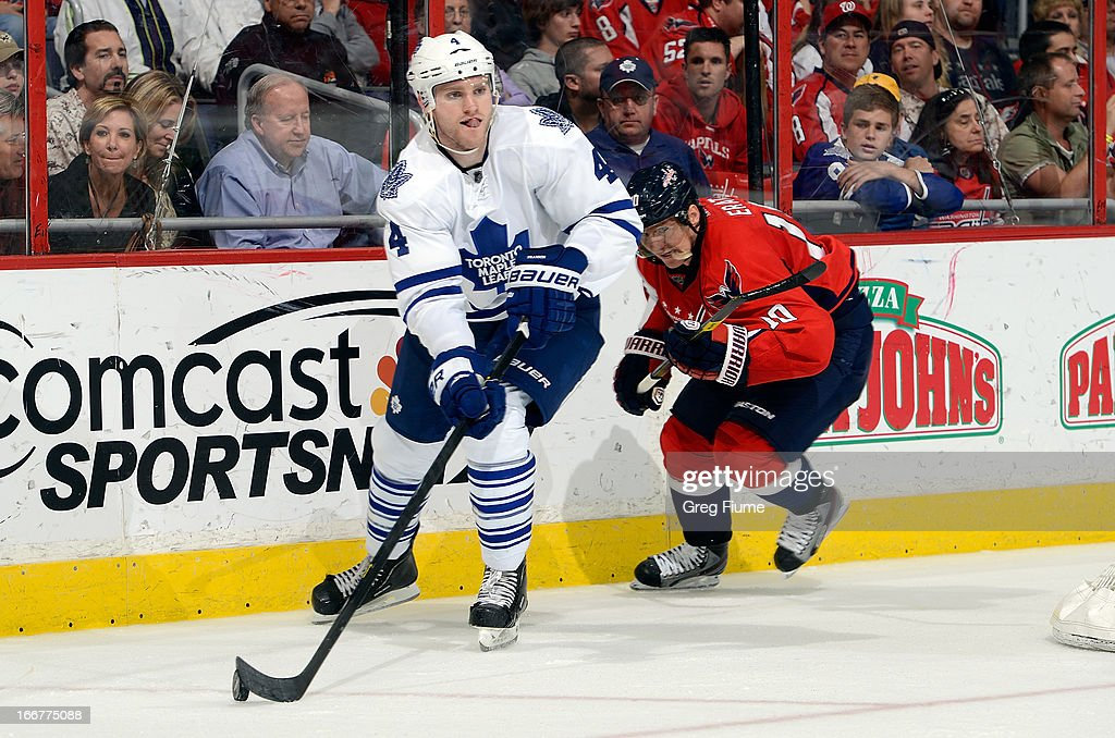 <a gi-track='captionPersonalityLinkClicked' href=/galleries/search?phrase=Cody+Franson&family=editorial&specificpeople=2125769 ng-click='$event.stopPropagation()'>Cody Franson</a> #4 of the Toronto Maple Leafs handles the puck in the third period against the Washington Capitals at the Verizon Center on April 16, 2013 in Washington, DC.