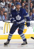 Cody Franson of the Toronto Maple Leafs skates against the Boston Bruins in Game Four of the Eastern Conference Quarterfinals during the 2013 NHL...