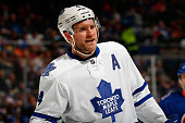 Cody Franson of the Toronto Maple Leafs skates against the New York Islanders at Nassau Veterans Memorial Coliseum on February 12 2015 in Uniondale...
