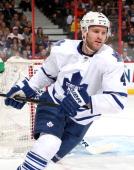 Cody Franson of the Toronto Maple Leafs skates against the Ottawa Senators at Canadian Tire Centre on April 12 2014 in Ottawa Ontario Canada