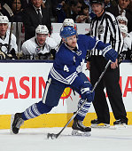 Cody Franson of the Toronto Maple Leafs skates against the Pittsburgh Penguins at the Air Canada Centre on November 14 2014 in Toronto Canada The...