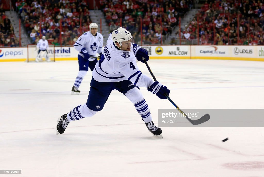 <a gi-track='captionPersonalityLinkClicked' href=/galleries/search?phrase=Cody+Franson&family=editorial&specificpeople=2125769 ng-click='$event.stopPropagation()'>Cody Franson</a> #4 of the Toronto Maple Leafs takes a shot on goal during the second period against the Washington Capitals at Verizon Center on March 16, 2014 in Washington, DC.