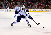 Cody Franson of the Toronto Maple Leafs takes a shot on goal during the second period against the Washington Capitals at Verizon Center on March 16...