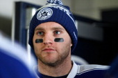 Cody Franson of the Toronto Maple Leafs waits in the tunnel to take the ice during the 2014 Bridgestone NHL Winter Classic team practice session on...