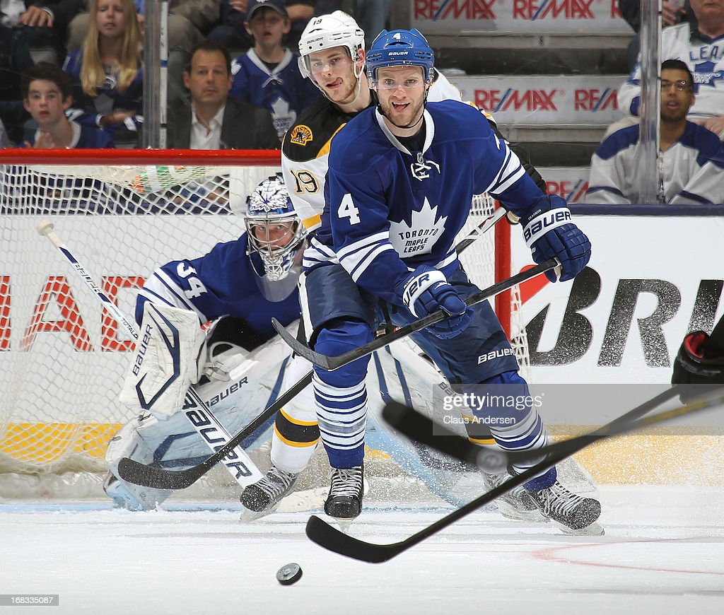 <a gi-track='captionPersonalityLinkClicked' href=/galleries/search?phrase=Cody+Franson&family=editorial&specificpeople=2125769 ng-click='$event.stopPropagation()'>Cody Franson</a> #4 of the Toronto Maple Leafs watches an incoming shot against the Boston Bruins in Game Four of the Eastern Conference Quarterfinals during the 2013 NHL Stanley Cup Playoffs on May 8, 2013 at the Air Canada Centre in Toronto, Ontario, Canada.