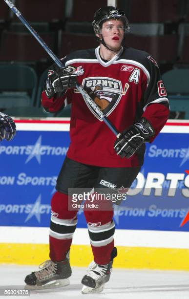 Cody Franson of the Vancouver Giants skates against the Seattle Thunderbirds during the WHL hockey game on October 2 2005 at Pacific Coliseum in...