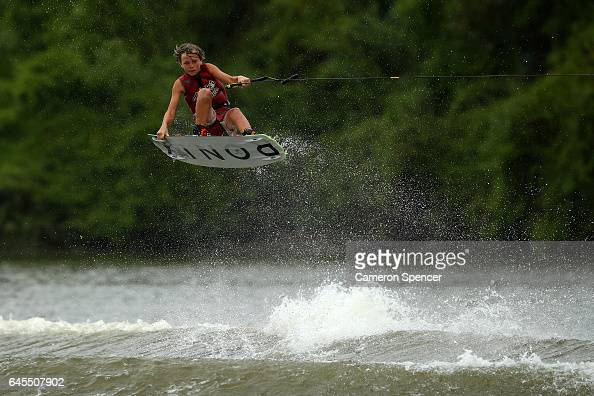 Cody Fuller competes in the 1014 Boys NSW Wakeboarding State Titles at Govenor Phillip Park Windsor on February 26 2017 in Sydney Australia