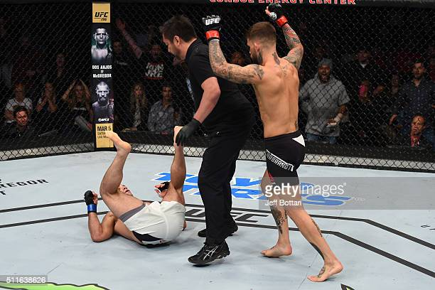 Cody Garbrandt celebrates his knockout victory over Augusto Mendes in their bantamweight bout during the UFC Fight Night event at Consol Energy...