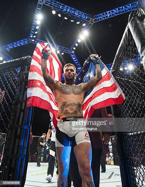 Cody Garbrandt celebrates his knockout victory over Thomas Almeida in their bantamweight bout during the UFC Fight Night event inside the Mandalay...