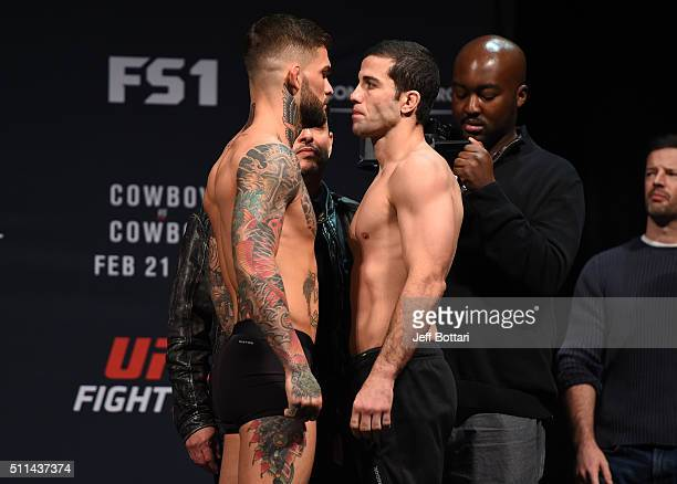Cody Garbrandt of the United States faces off against Augusto Mendes of Brazil during the UFC Fight Night weighin at Stage AE on February 20 2016 in...