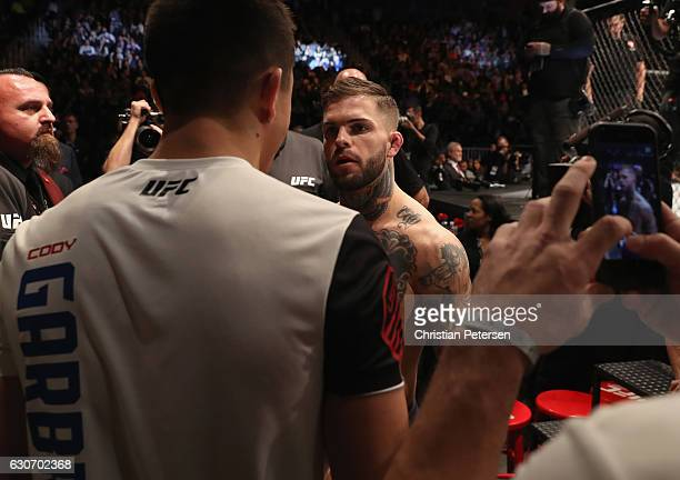 Cody Garbrandt prepares to enter the Octagon to face Dominick Cruz in their UFC bantamweight championship bout during the UFC 207 event on December...