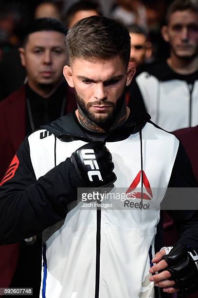 Cody Garbrandt prepares to fight Takeya Mizugaki of Japan in their bantamweight bout during the UFC 202 event at TMobile Arena on August 20 2016 in...