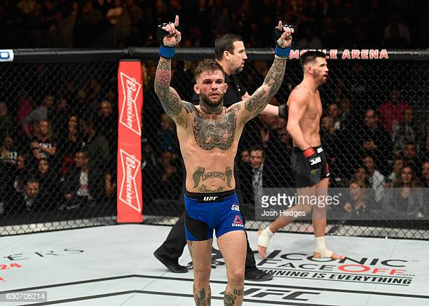 Cody Garbrandt reacts to his victory over Dominick Cruz in their UFC bantamweight championship bout during the UFC 207 event at TMobile Arena on...