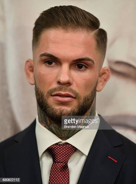 Cody Garbrandt speaks to the media during the UFC 207 Ultimate Media Day at TMobile Arena on December 28 2016 in Las Vegas Nevada
