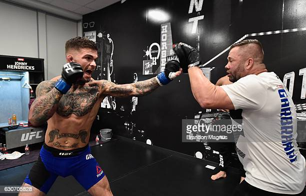 Cody Garbrandt warms up backstage during the UFC 207 event at TMobile Arena on December 30 2016 in Las Vegas Nevada
