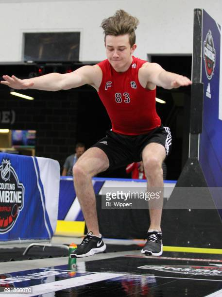Cody Glass does the Long Jump during the NHL Combine at HarborCenter on June 3 2017 in Buffalo New York