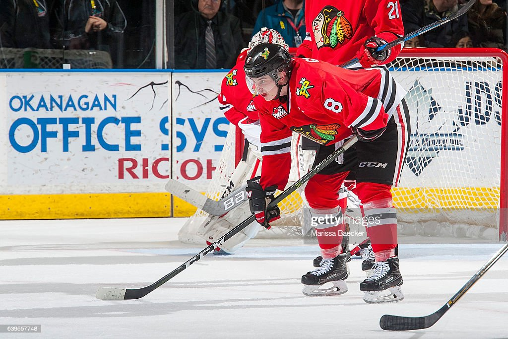 Cody Glass #8 of the Portland Winterhawks lines up against the Kelowna Rockets on January 21, 2017 at Prospera Place in Kelowna, British Columbia, Canada.