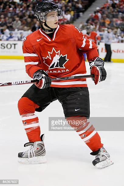 Cody Goloubef of Team Canada skates during the game against Team Kazakhstan at the IIHF World Junior Championships at Scotiabank Place on December 28...