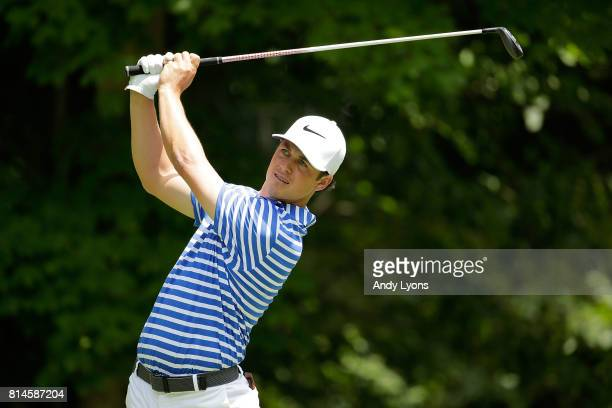 Cody Gribble hits his tee shot on the sixth hole during the second round of the John Deere Classic at TPC Deere Run on July 14 2017 in Silvis Illinois