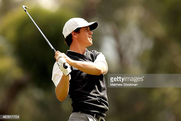 Cody Gribble of the United States hits off the 7th tee during a continuation of the second round of the Colombia Championship presented by Claro at...
