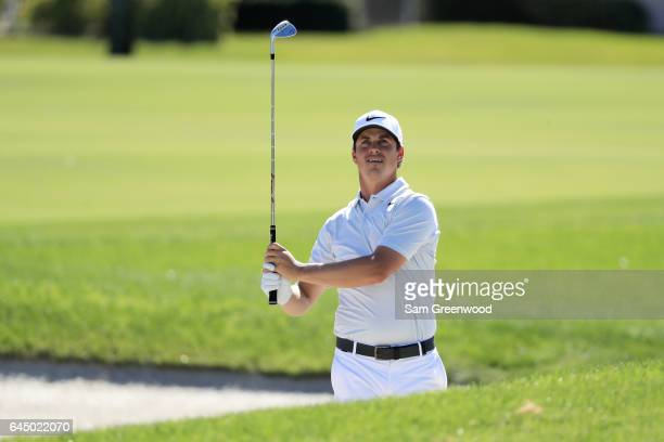 Cody Gribble of the United States plays a shot on the 18th hole during the second round of The Honda Classic at PGA National Resort and Spa on...