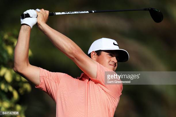 Cody Gribble of the United States plays a shot on the eighth hole during the first round of The Honda Classic at PGA National Resort and Spa on...