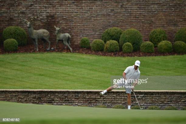 Cody Gribble of the United States plays his shot during a practice round prior to the 2017 PGA Championship at Quail Hollow Club on August 9 2017 in...
