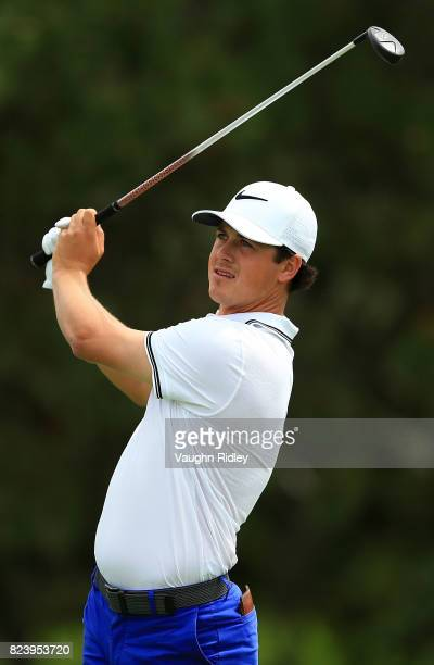 Cody Gribble of the United States plays his shot from the ninth tee during the second round of the RBC Canadian Open at Glen Abbey Golf Club on July...