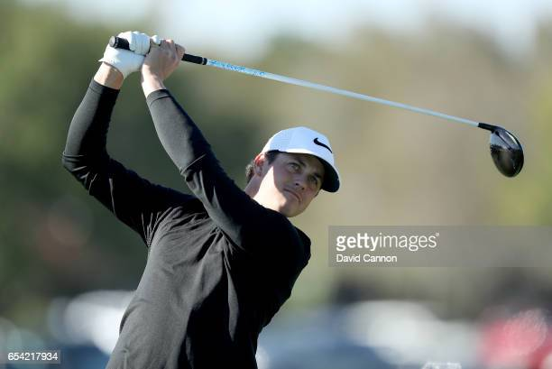 Cody Gribble of the United States plays his tee shot on the par 4 eighth hole during the first round of the 2017 Arnold Palmer Invitational presented...