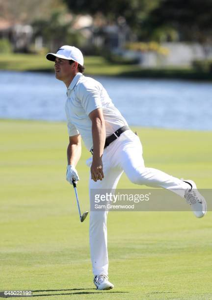 Cody Gribble of the United States reacts on the 18th hole during the second round of The Honda Classic at PGA National Resort and Spa on February 24...