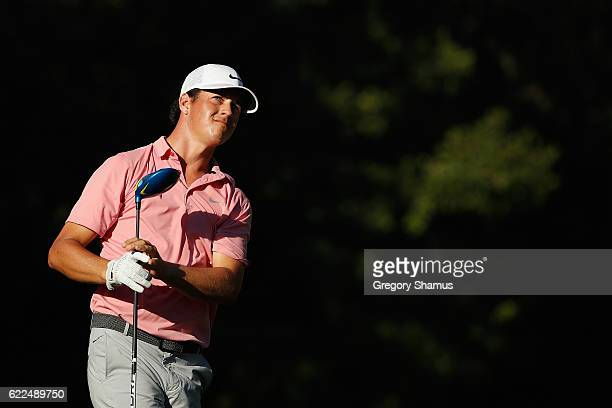 Cody Gribble of the United States watches his shot from the ninth tee during the second round of the OHL Classic at Mayakoba on November 11 2016 in...