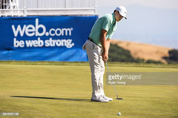 Cody Gribble putts on the 18th hole during the third round of the Webcom Tour Ellie Mae Classic at TPC Stonebrae on July 30 2016 in Hayward California