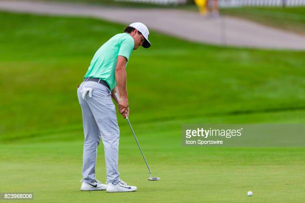 Cody Gribble putts on the green during first round action of the RBC Canadian Open on July 27 at Glen Abbey Golf Club in Oakville ON Canada