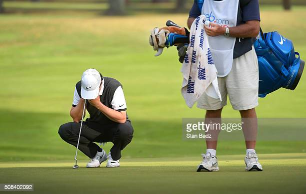 Cody Gribble reacts to chip shot on the 14th hole during the first round of the Webcom Tour Club Colombia Championship Presented by Claro at Bogotá...
