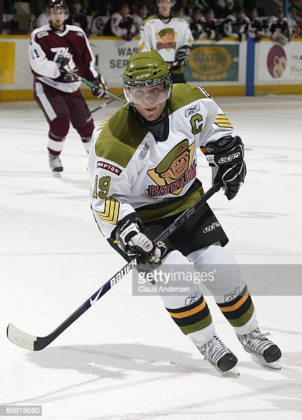 Cody Hodgson of the Brampton Battalion skates in the 3rd game of the opening round eastern conference series against the Peterborough Petes on March...